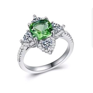 Ring for women925 silver green amethyst size 8